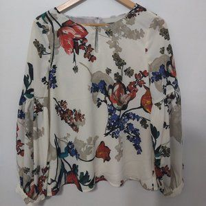 Floral Blouse with Puffed Sleeves
